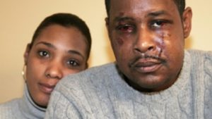 BRUISED AND BATTERED: Wayne Abron, with his then-girlfriend Edwinna Wynn, shows his injuries from a March 2008 incident.