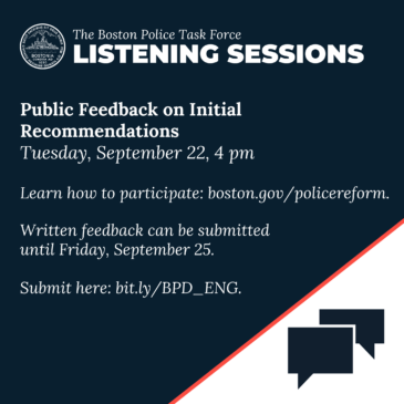 BOSTON POLICE TASK FORCE COMMUNITY LISTENING SESSION September 22, 2020